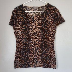 Ann taylor merino wool leopard top